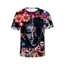 Popular 3D Floral Figure Print Short Sleeve T-Shirt