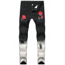 New Fashion Floral Rose Embroidered Distressed Black Fit Ripped Jeans for Men