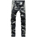 New Fashion Black and Grey Washed Stretch Slim Fit Jeans for Men