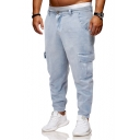 Mens Stylish Washed-Denim Stretch Drop-Crotch Light Blue Tapered Jeans