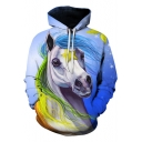 Snowflake White Horse 3D Printed Relaxed Fit Blue Hoodie