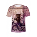 Funny Octopus 3D Printed Basic Short Sleeve Summer Basic T-Shirt