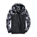 Men's Letter Camouflage Print Long Sleeve Drawstring Hooded Zip Up Jacket