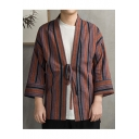 Men's Vintage Chinese Style Tribal Striped Print Drawstring Waist Cotton Linen Cardigan Coat