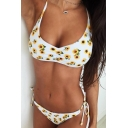 Summer Sexy Sunflower Printed Halter Neck Beach White Bikini Swimwear