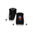 Figure Printed Stand-Collar Long Sleeve Button Down Baseball Jacket