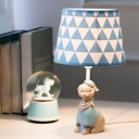 Shaded 1 Head Reading Light with Dog White Finish Fabric Shade Standing Table Light for Kids
