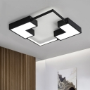 Nordic Style Block Indoor Lighting with Acrylic Shade LED Flush Mount Light in Black/White for Sitting Room