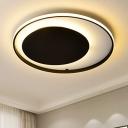 Matte Black Circular Ring Flush Mount Minimalist Aluminum LED Flush Ceiling Light for Coffee Shop