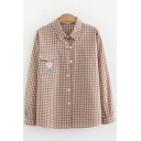 Cute Teddy Bear Embroidery Patched Pocket Classic Plaid Print Long Sleeve Button Down Shirt