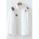 Lovely Cartoon Cat Embroidery Long Sleeve Simple Button Down White Shirt