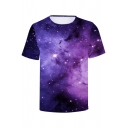 Cool 3D Purple Galaxy Printed Basic Short Sleeve Loose Fit T-Shirt