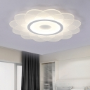 Acrylic Surface Mount LED Light with Bloom Nordic Style White Flush Mount for Girls Bedroom