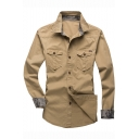 Men's New Fashion Long Sleeve Fitted Button Down Cotton Military Shirt