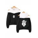 Marshmello Funny Wing Letter BE MINE Cold Shoulder Pullover Hoodie for Girls