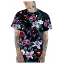 Stylish 3D Floral Printed Basic Short Sleeve Loose Fit Navy T-Shirt