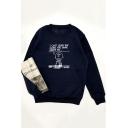 Round Neck Long Sleeve Letter Cartoon Figure Printed Loose Sweatshirt