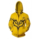 Fashion Heart Pattern Long Sleeve Comic Cosplay Costume Zip Up Yellow Hoodie