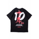 Unique Cool Number 10 Chinese Character Print Relaxed Loose Cotton T-Shirt