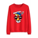 Cool Letter LIVING FOR YOURSELF Cartoon Tiger Printed Round Neck Long Sleeve Casual Sweatshirt