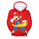 New Fashion Comic Character Printed Long Sleeve Pullover Drawstring Hoodie