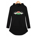 Central Perk Funny Cup Print Loose Fit Long Sleeve Longline Hoodie