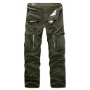Mens Classic Fashion Zip Pocket Solid Color Casual Cotton Cargo Pants