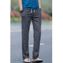 Retro Chinese Style Drawstring Waist Solid Color Straight-Leg Casual Linen Pants for Guys