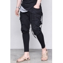 Cool Mens Simple Plain Unique Lace-Up Side Gathered Cuff Stylish Street Pants