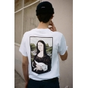 Street Fashion Funny Portrait Mona Lisa with A Cat Printed Loose Fit Cotton T-Shirt