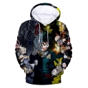 My Hero Academia Cool 3D Comic Character Printed Long Sleeve Relaxed Fit Hoodie