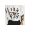 Summer New Trendy Floral Printed Short Sleeve White Cotton Tee