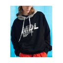 New Trendy Cool Letter MDL Print Patchwork Long Sleeve Sport Casual Drawstring Hoodie