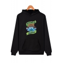Comic Character Cute Letter BECAUSE I'M HAPPY Unisex Cosplay Casual Hoodie