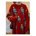 Oversize Long Sleeve Round Neck Christmas Tree Printed Tunics Sweater