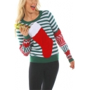 Funny Christmas Red Boot Patched Green Striped Print Round Neck Long Sleeve Sweater