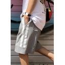Mens Fashion Web Stripe Side Drawstring-Waist Flap-Pocket Back Grey Cotton Athletic Sweat Shorts