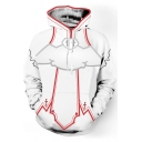 Cosplay Costume Pullover Loose Casual White Drawstring Hoodie