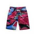 Cool Men's Letter Striped Print Quick-Dry Drawstring Sport Beach Swimming Trunks with Mesh Liner