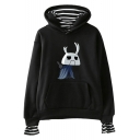 Hollow Knight Video Game Character Print Stripe Inside Casual Pullover Hoodie