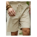 Men's Summer Simple Plain Drawstring Waist Linen Cotton Beach Loose Lounge Shorts