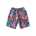 Summer New Trendy Floral Printed Drawstring Waist Cotton Beach Blue Swim Shorts