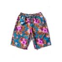 Summer New Trendy Floral Printed Drawstring Waist Cotton Beach Blue Swim Shorts