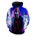 Fashion Long Sleeve Regular Fit Pullover Hoodie in Blue