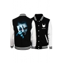 Clown Figure Printed Stand-Collar Black Long Sleeve Button Down Baseball Jacket