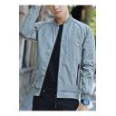 Guys Simple Long Sleeve Solid Stand Collar Zip Closure Slim Jacket