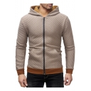 Hot Sale Zip Closure Plaid Printed Long Sleeve Contrast Hem Sport Fitted Hoodie Jacket