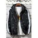 New Trendy Color Block Letter Print Zip Front Elastic Hem Hooded Track Jackets for Men