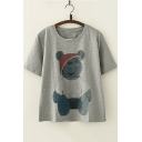 Cute Teddy Bear Printed Basic Short Sleeve Round Neck Loose Fit T-Shirt