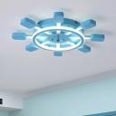 Nautical Blue Rudder Ceiling Flush Mount Metallic LED Flush Light Fixture for Children Bedroom